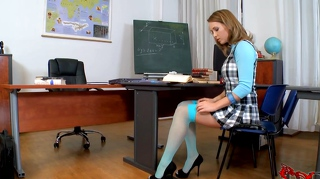 Schoolgirl makes him wild with her sexy feet in high heels.